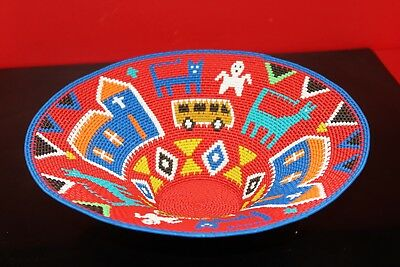 """12½""""  Church Red African Zulu Telephone Wire Story Basket"""