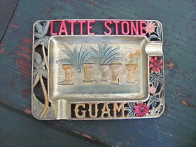 Vintage Souvenir Latte Stone Guam Metal Tin Ashtray