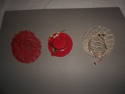 Vintage Betsy McCall Ginny Muffie Hat Lot w/ Flowers for Small Fashion Dolls