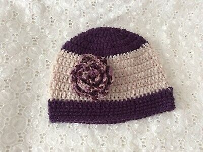 DEEP PURPLE  BABY GIRLS  CROCHET BEANIE 3 to 6 months Made in WA