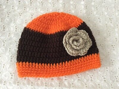 BROWN & ORANGE BABY GIRLS  CROCHET BEANIE 3 to 6 months Made in WA