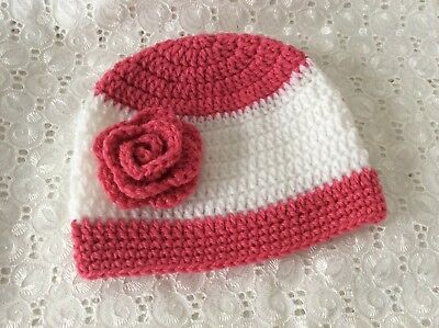 PINK & WHITE BABY GIRLS  CROCHET BEANIE 3 to 6 months Made in WA