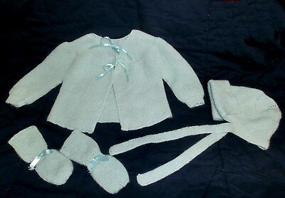 Vintage Infant Baby Sweater Hat Bootie Set Pale Green