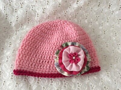 PINK BABY GIRLS  CROCHET BEANIE 3 to 6 months Made in WA