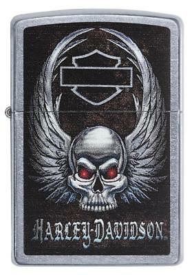 Zippo Harley Davidson Lighter With Winged Skull & Red Eyes, 29558, New In Box