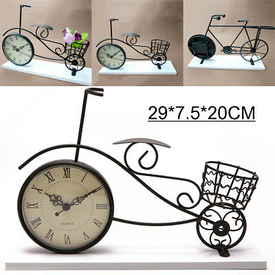 Vintage Retro Bicycle Bike Clock Roman Numeral Stand Desk Table Home with Base