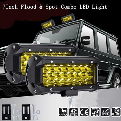 Good 144W LED Light Bar Flood Spot Work Off Road Driving Lamp Yellow Cover  #D