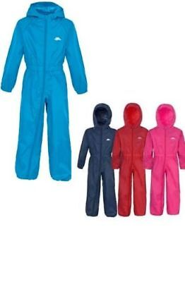 Trespass Girls,boys Waterproof All In One Suit Button Rainsuit New