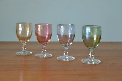 Vintage 4 x  coloured small liqueur glasses harlequin