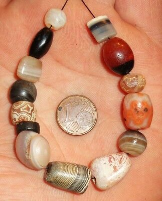 13mm Ancient Mali African Neolithic Indus Banded Agate Suleimani Carnelian Beads
