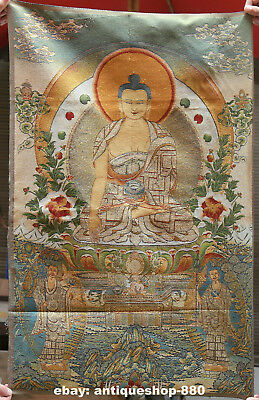 "36"" Tibet Tibetan Cloth Silk Buddha Medical God Tangka Thangka Painting Mural#14"
