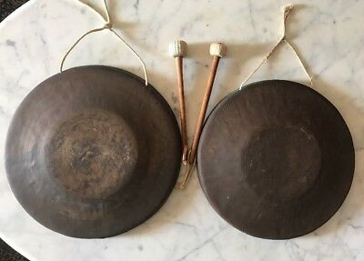 """Pair of Asian  Antique Hand Made Brass Tam Tam Chao Gongs 13 """"Hallmarked"""
