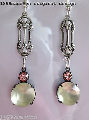 Art Nouveau Art Deco earrings frosted glass rose crystal Edwardian vintage style