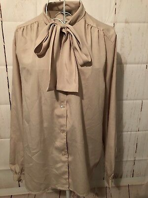 Women's Fabra Cream Vintage Shirt With Neck Tie Sz 18 (Suited 12-14)