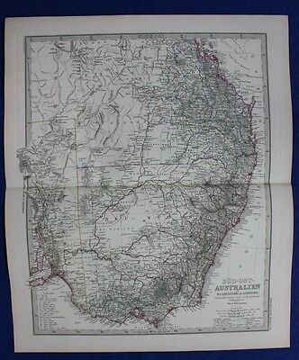 AUSTRALIA, NEW SOUTH WALES, QUEENSLAND, original antique map, Stieler 1881