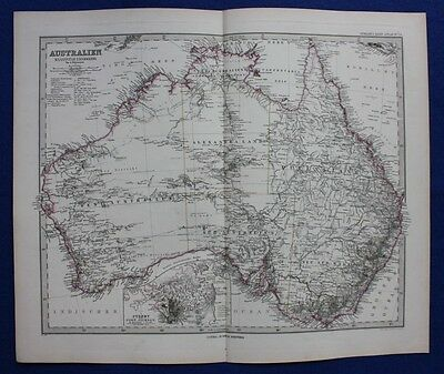 AUSTRALIA, SYDNEY, original antique map, Stieler 1880