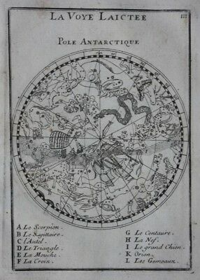 Original antique celestial chart MILKY WAY, STARS, SOUTH HEMISPHERE, Mallet 1683