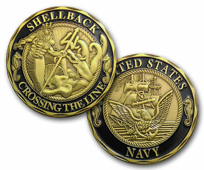 Us Seller - New Us Navy Shellback Crossing The Line Military Challenge Coin