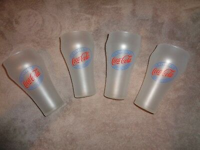 Vintage Genuine Coca Cola Drinkware Glasses  Set Lot of 4 White Frosted