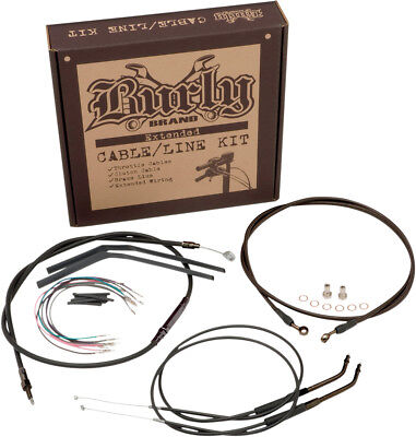 "Burly Brand Black Vinyl Cable/Line Kit For 12"" Ape Hanger Bar B30-1039"