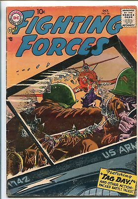 """OUR FIGHTING FORCES #26-1957-DC-SILVER AGE-RUSS HEATH-""""FINGER MAN""""-vg"""