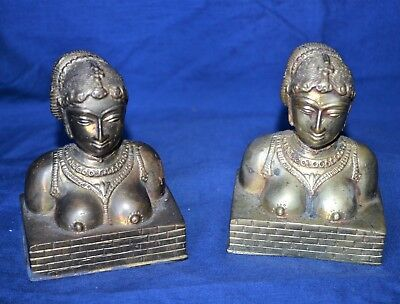 Vintage Cast Brass or Cast Bronze Asian Figural Bookends - Heavy