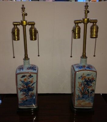 Pair Antique Chinese or Japanese Imari Bottle Form Porcelain Lamps