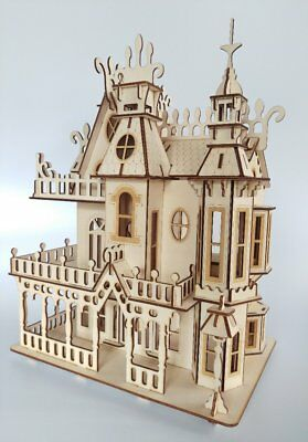 Dolls House Victorian gothic wooden Dollhouse decorative craft wood Kit or built