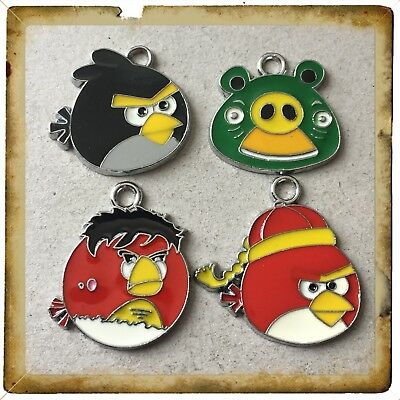 Lot Of 4 Vintage Angry Birds  Metal Charms,Brand New