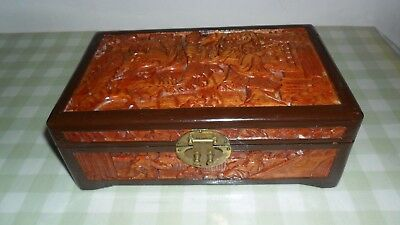 Vintage Chinese Carved Wooden Jewellery Box ( No Lock )