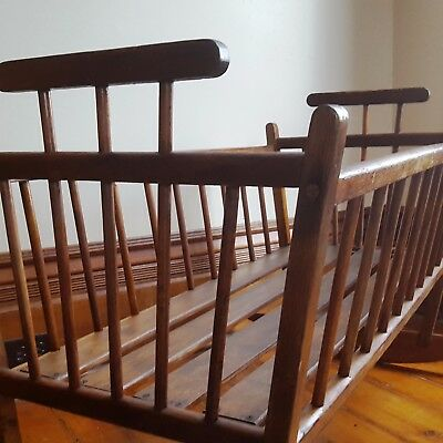 "Antique 19th c. Handmade WINDSOR COMB BACK Wood ROCKING Baby-Doll CRADLE 25""x36'"