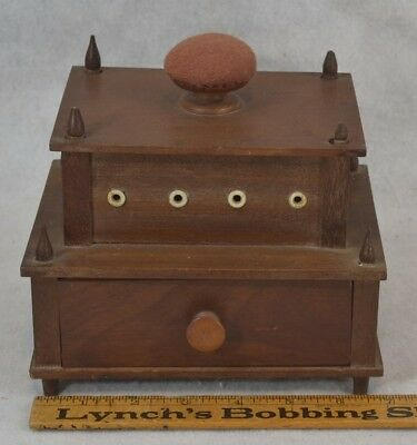 Sewing box wood carved bone thread holes pincushion drawer Shaker community