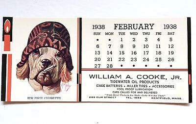 VINTAGE 1938 ADVERTISING INK BLOTTER Tidewater Dog Robert Dickey Westfield MA