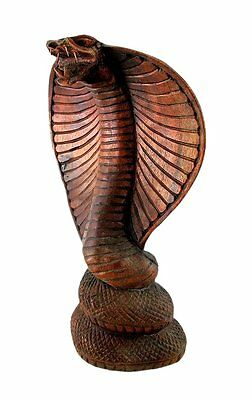 Hooded Cobra Snake Statue Sculpture Handmade Carved suar wood Bali Art 8""