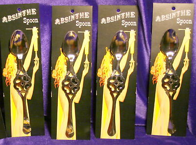 New Set of 4 Absinthe  #2 Hearts Spoons, made in France, best Quality available