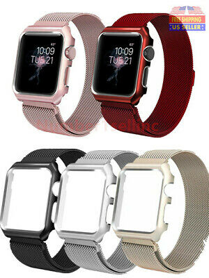For Apple Watch Series 4/3/2/1 Milanese Stainless Steel Watch Band Strap + Case