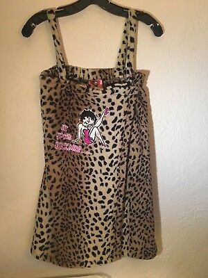 Betty Boop Beige Black Leopard Short Bathrobe In Your Dreams Size Small New