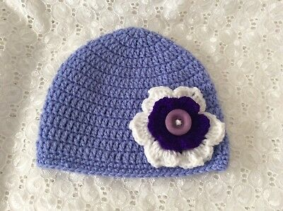 BABY GIRLS  MAUVE CROCHET BEANIE - 6 to 12 months Made in WA