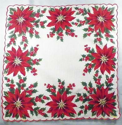 Red Poinsettia Flowers Christmas Hankie Holly Leaves Vintage Great Color Retro