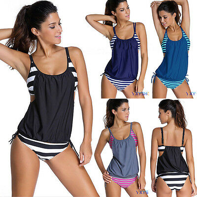 2PCS Women Striped Tankini Set Bikini Tank Tops+Bottom Bathing Swimsuit Swimwear