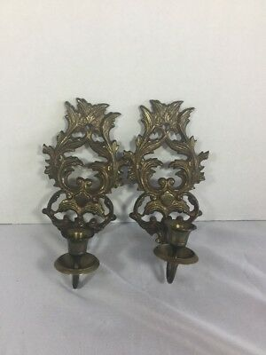 Pair Antique Brass Wall Candle Sconces Ornate Candle Holders