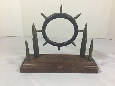 Vintage WW2 WWII Trench Art Mantle Clock Frame Or Picture Frame