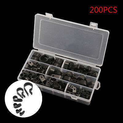 200 Pieces Assorted Box Nylon P-Clips Black 5mm-28mm Wire Cable Conduit P Clip