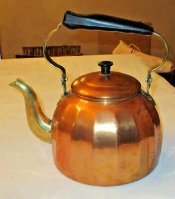 Vintage Copper Brass Tea Kettle Made In Germany 2 34 Quarts