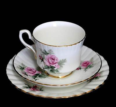 Vintage Royal Stafford Rosalind pink roses exquisitely pretty teacup trio set