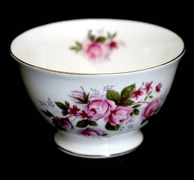 Vintage exquisite Queen Anne pink rose floral large sugar bowl