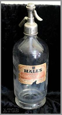 Vintage G Hall & Sons Norwood large soda syphon with original paper label 31cm
