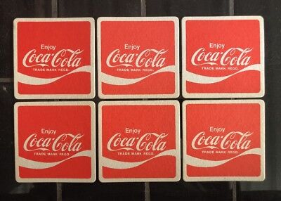 Set Of 6 X Coke Coca-Cola Vintage Bar Coasters