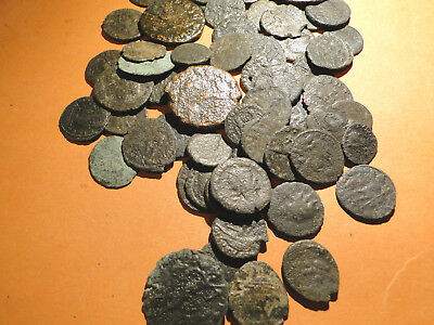 5 Cleaned but Unresearched Roman Bronze Coins, mainly lower grade.