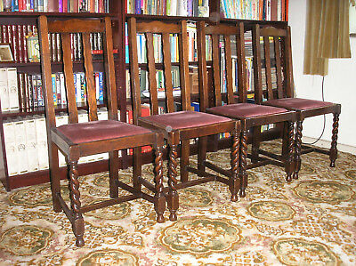Antique Oak Dining Chairs With Barley Twist Details